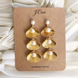 NWT J. Crew Shell-and-Pearl Drop Earrings